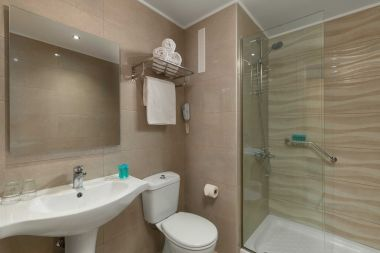 Superior Double Room Pool, bathroom and shower